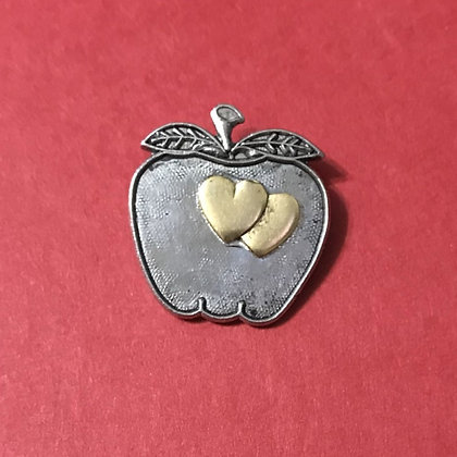 Silver Apple with Hearts Tack Pin