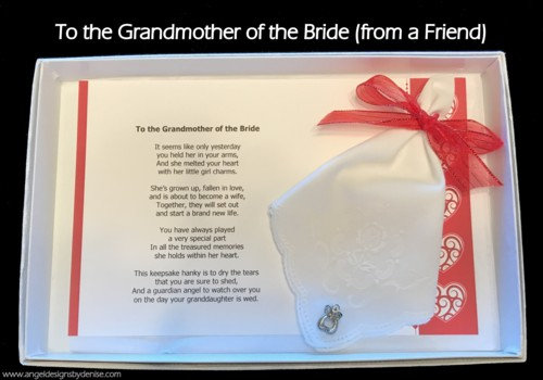 To the Grandmother of the Bride (from a friend) Hankie & Angel Pin Gift Set