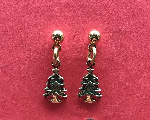 Tiny Green Christmas Tree Earrings