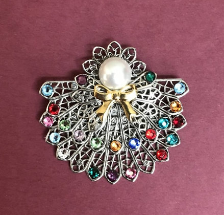 Double Skirted Birthstone Angel Pin (22 stones on skirts) #245