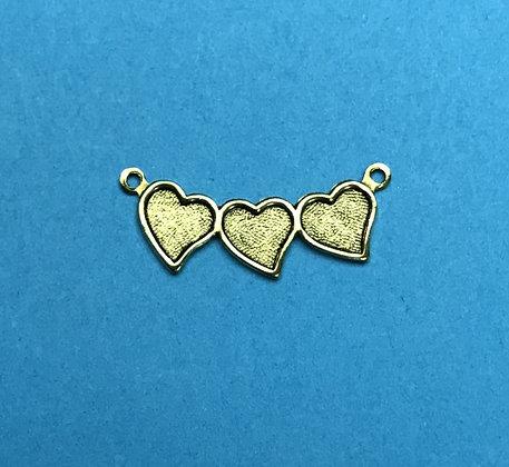 Gold Triple Heart Charm