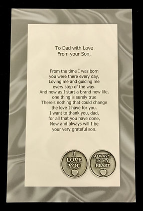 To Dad with Love From Your Son Poem & Token Set