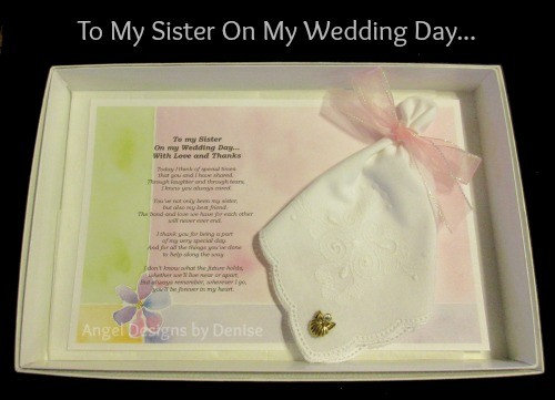 To My Sister On My Wedding Day Hankie & Angel Pin Gift Set