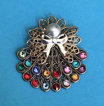 Double Skirted Birthstone Angel Pin (16 stones on skirts) #242