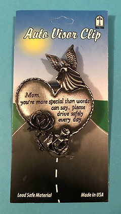 Mom Guardian Angel Heart Visor Clip Front View