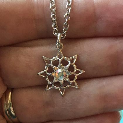 Single Stone Snowflake Necklace #846NAB