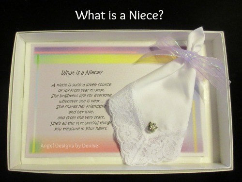 What is a Niece Hankie & Angel Pin Gift Set