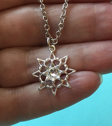 Clear Single Stone Snowflake Necklace #846NCLEAR