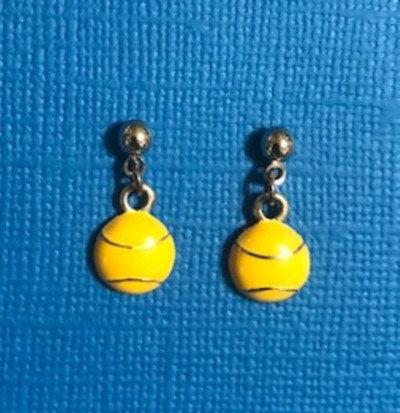 Enameled Tennis Ball Earrings
