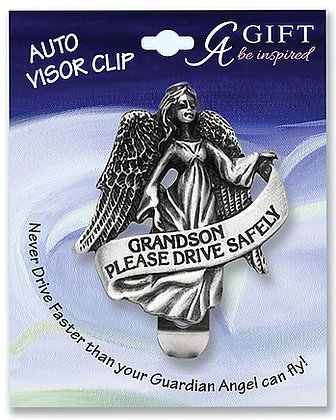 Grandson #1 Angel Visor Clip Front View