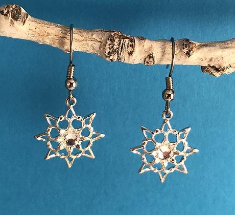 Clear Single Stone Snowflake Earrings #846ECLEAR