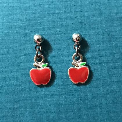 Tiny Red Apple Pierced Earrings
