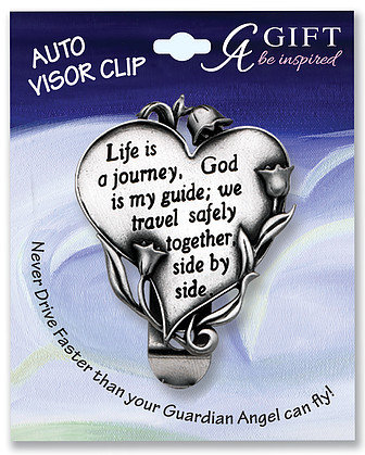 Life is a Journey Heart Visor Clip Front View