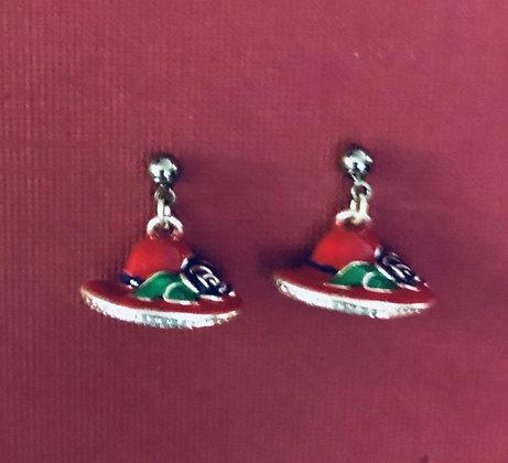 Red Hat Pierced Earrings w/Purple Flower