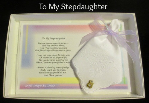To My Stepdaughter Hankie & Angel Pin Gift  Set