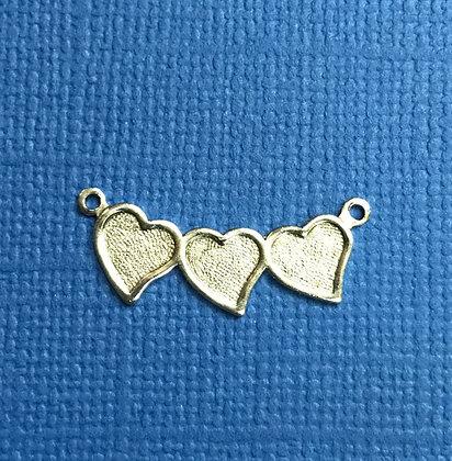 Silver Triple Heart Charm