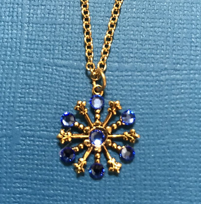 Small Snowflake Necklace #844NSAPPHIRE