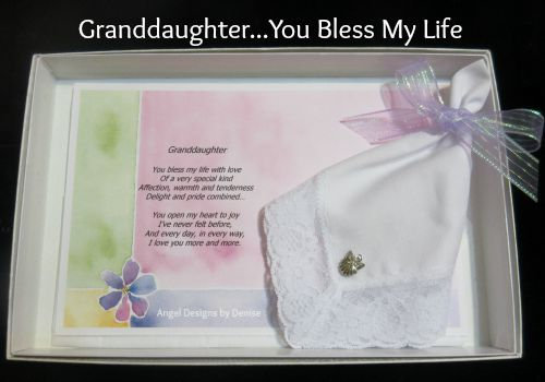 Granddaughter Hankie & Angel Pin Gift Set