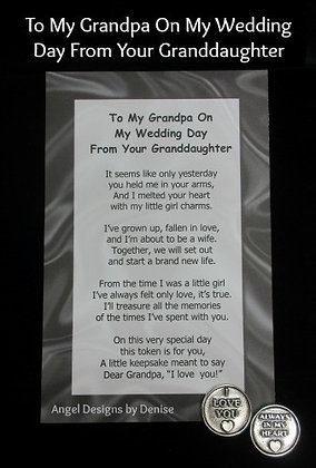 To My Grandpa From Your Grandson on My Wedding Day Token Set