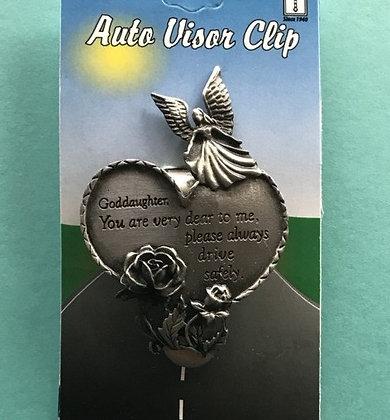Goddaughter Guardian Angel Heart Visor Clip