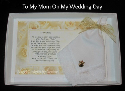 To Mom on My Wedding Day Hankie & Angel Pin Gift Set