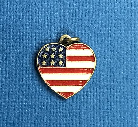 Patriotic Heart Flag Charm