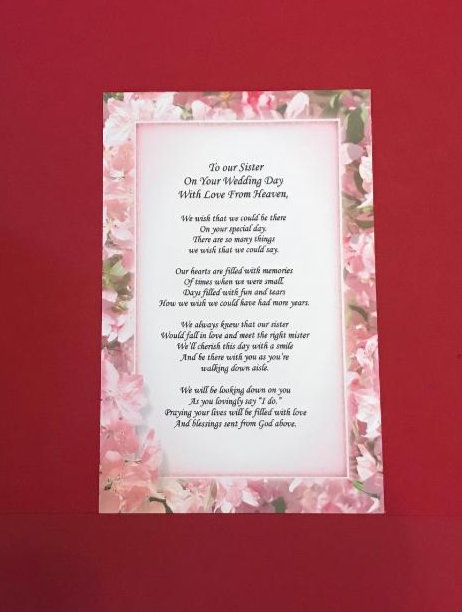 On Your Wedding Day Hanky /& Angel Pin Set To Our Sister With Love From Heaven