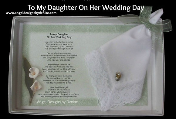 To My Daughter on Her Wedding Day Hankie & Angel Pin Set