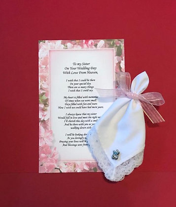 To My Sister On Her Wedding Day With Love From Heaven Hankie & Angel Pin Set