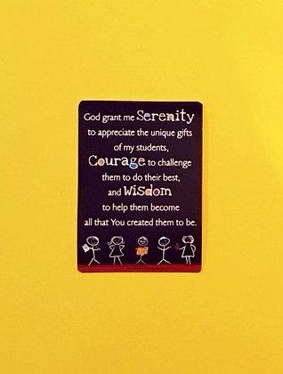 Teacher Serenity Prayer Card