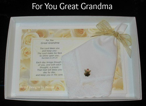 For You Great Grandma Hankie & Angel Pin Gift Set