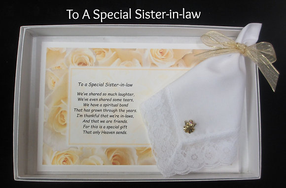 Special Sister-in-law Hankie & Angel Pin Gift Set