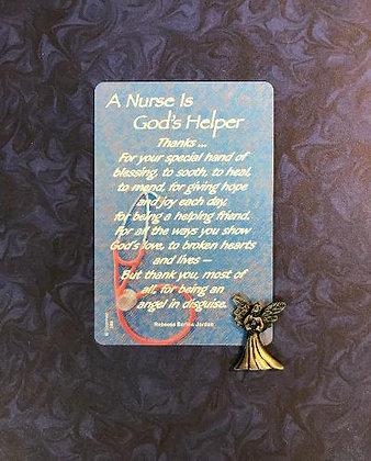A Nurse is God's Helper Token & Card Set
