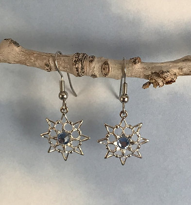 Light Blue Single Stone Snowflake Earrings #846ELTBLUE