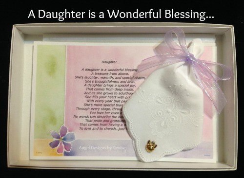 Daughter is a Wonderful Blessing Hankie & Angel Pin Gift Set