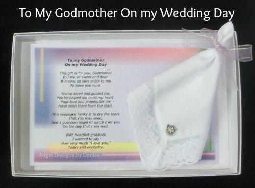 To My Godmother on My Wedding Day Hankie & Angel Pin Set