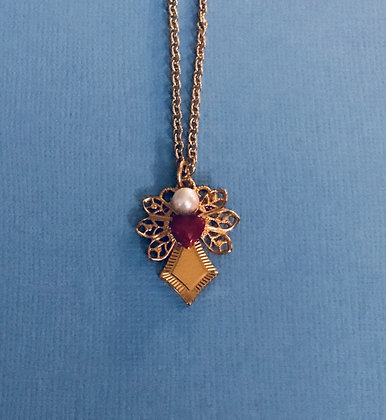Guardian Angel Necklace #116N REDHEART