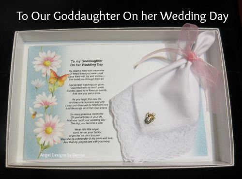To Our Goddaughter On Her Wedding Day Hankie & Angel Pin Gift Set