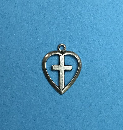 Antique Silver Heart with Cross Charm