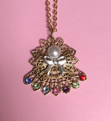 Birthstone Angel Necklace  (7 stones on skirt) #257PN