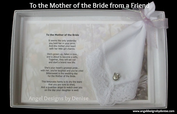 To the Mother of the Bride (from friend) Hankie & Angel Gift Set