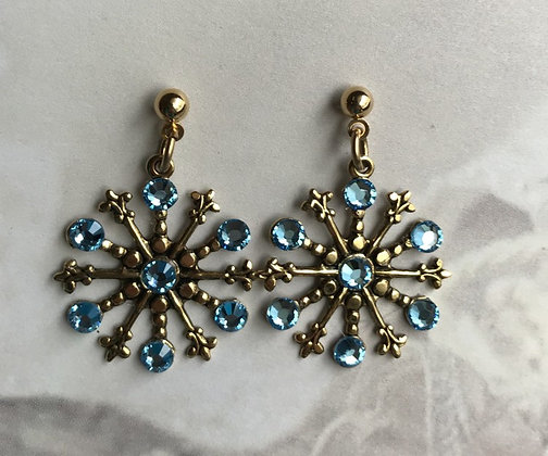 Medium Snowflake Earrings #842EAQUA