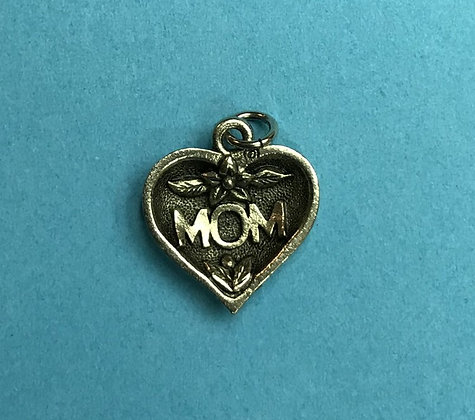 Antique Silver Mom Heart Charm