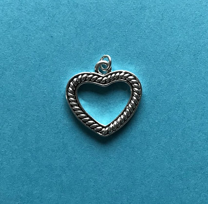 Braided Silver Open Heart Charm