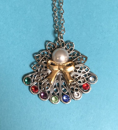 Birthstone Angel Necklace  (8 stones on skirt) #242PN