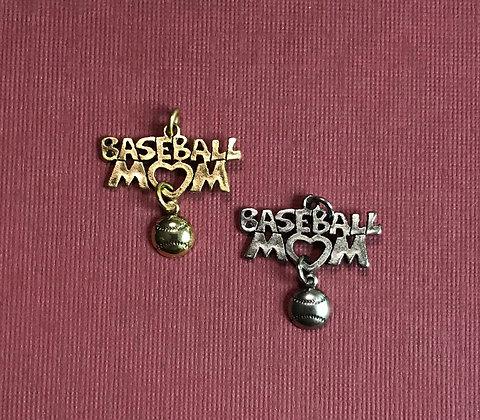 Baseball Mom/w Ball Charm