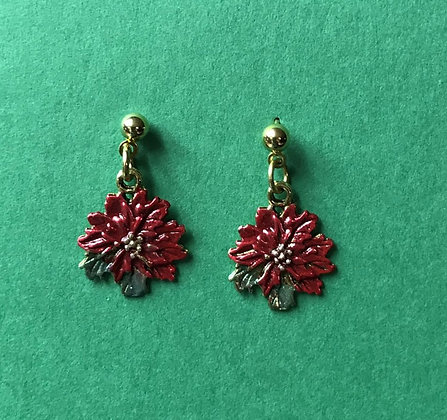 Flat Poinsettia Earrings