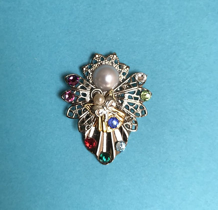 Mother and Child Birthstone Angel Pin #249P