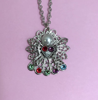 Birthstone Angel Necklace (5 stones on skirt) #254PN