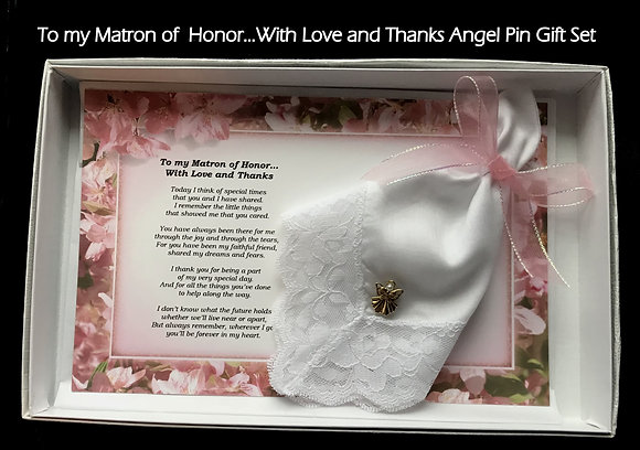 To My Maid or Matron of Honor Hankie & Angel Pin Gift Set